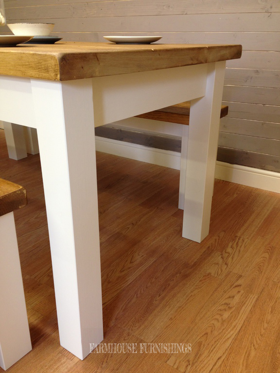 Solid Pine 6ft Plank Top Dining Table And Two Matching