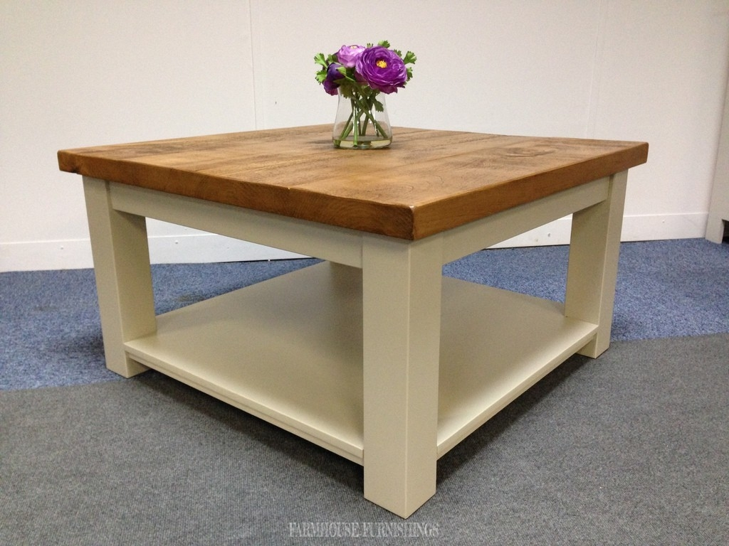 Plank top solid pine square coffee table farmhouse