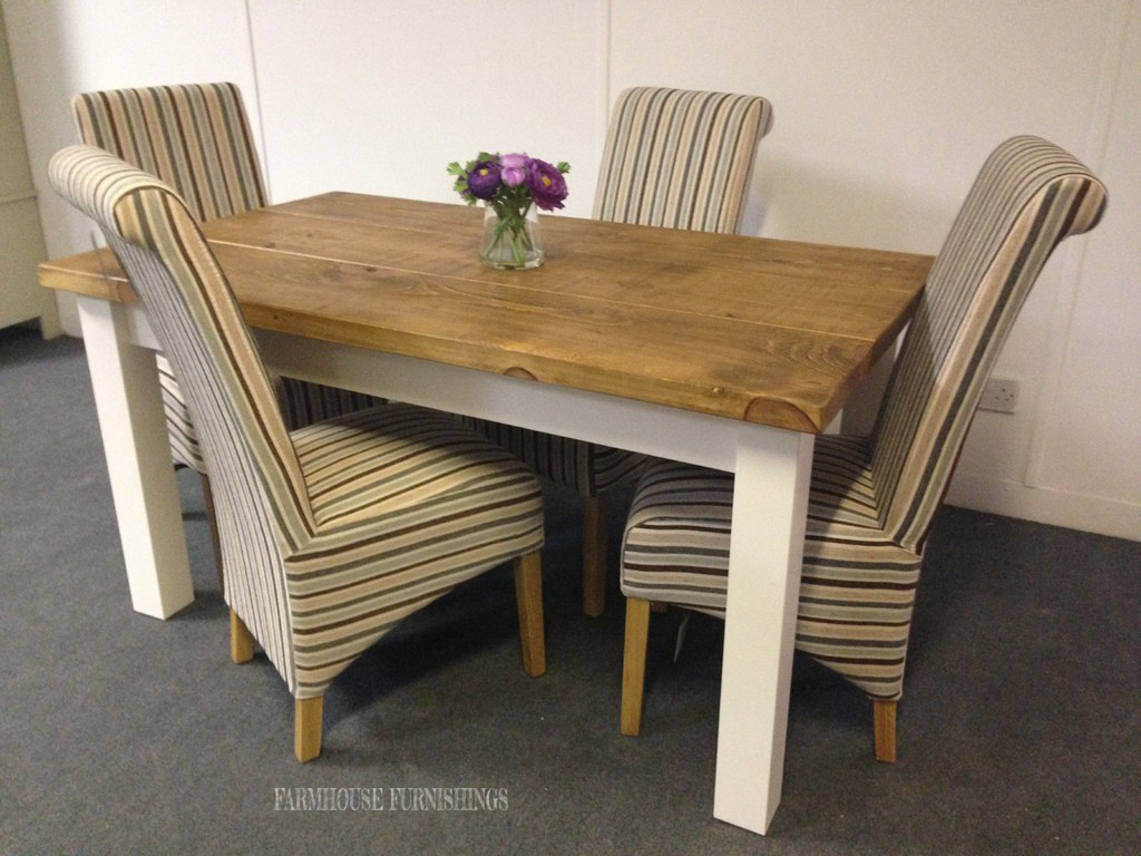 solid pine plank top dining table and four stripe chairs farmhouse